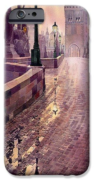 Watercolour Paintings iPhone Cases - Prague Charles Bridge Night Light iPhone Case by Yuriy  Shevchuk