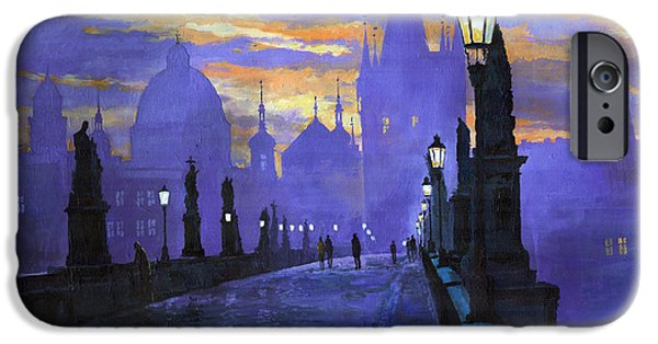 Architecture iPhone Cases - Prague Charles Bridge Sunrise iPhone Case by Yuriy  Shevchuk