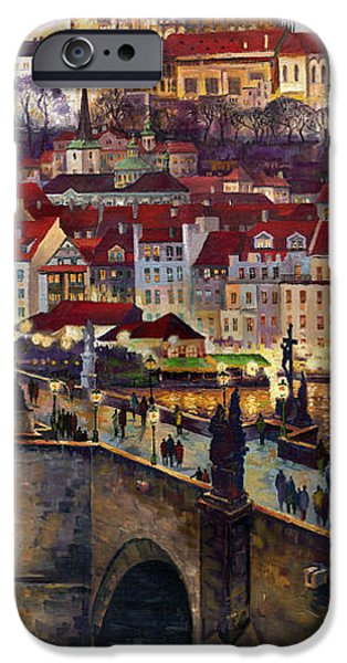 Oil On Canvas iPhone Cases - Prague Charles Bridge with the Prague Castle iPhone Case by Yuriy  Shevchuk