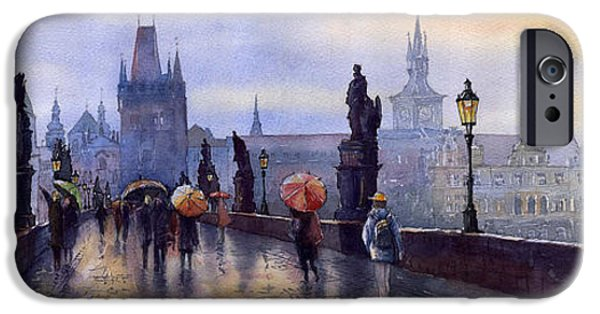 Watercolor iPhone Cases - Prague Charles Bridge iPhone Case by Yuriy  Shevchuk