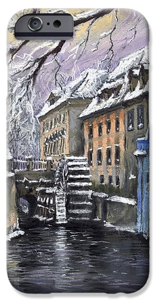 Old Pastels iPhone Cases - Prague Chertovka Winter iPhone Case by Yuriy  Shevchuk
