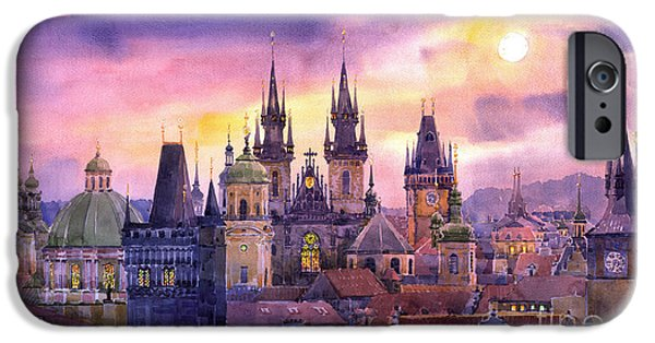 Building iPhone Cases - Prague City of Hundres Spiers variant iPhone Case by Yuriy  Shevchuk