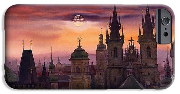 Watercolors Paintings iPhone Cases - Prague City of hundres spiers iPhone Case by Yuriy  Shevchuk