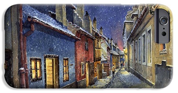 Streetscape Paintings iPhone Cases - Prague Golden Line Winter iPhone Case by Yuriy  Shevchuk