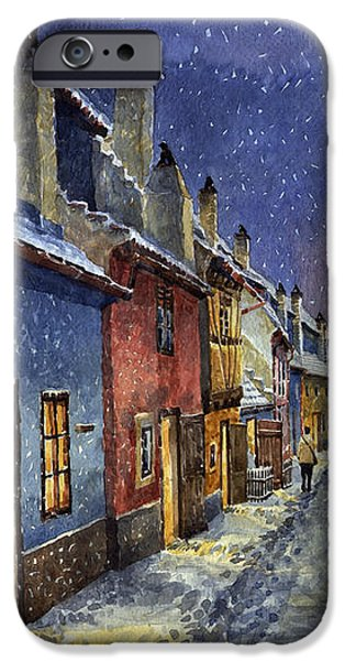 Prague Golden Line Winter iPhone Case by Yuriy  Shevchuk