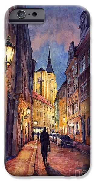 Streetscape Paintings iPhone Cases - Prague Husova Street iPhone Case by Yuriy  Shevchuk