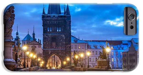 Town iPhone Cases - Prague in blue iPhone Case by Martin Capek