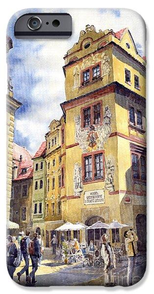 Streetscape Paintings iPhone Cases - Prague Karlova Street Hotel U Zlate Studny iPhone Case by Yuriy  Shevchuk