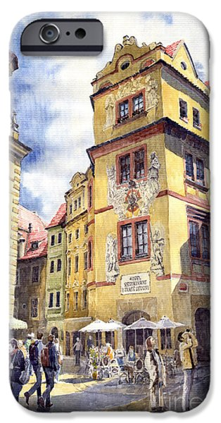 Prague Karlova Street Hotel U Zlate Studny iPhone Case by Yuriy  Shevchuk