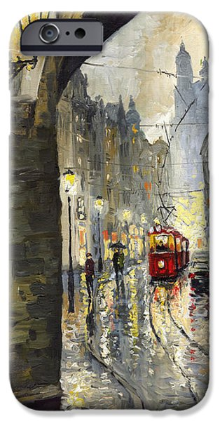 Streetscape Paintings iPhone Cases - Prague Mostecka street iPhone Case by Yuriy  Shevchuk