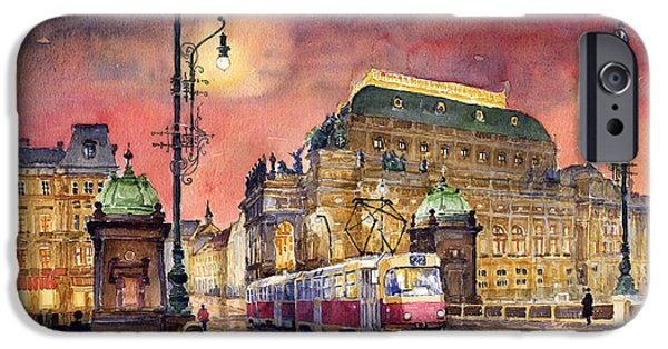 Streetscape Paintings iPhone Cases - Prague  Night Tram National Theatre iPhone Case by Yuriy  Shevchuk