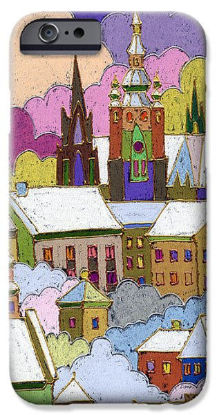 Winter iPhone Cases - Prague Old Roofs Prague Castle Winter iPhone Case by Yuriy  Shevchuk