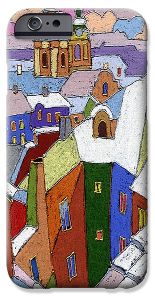 Winter iPhone Cases - Prague Old Roofs Winter iPhone Case by Yuriy  Shevchuk