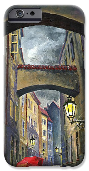 Streetscape Paintings iPhone Cases - Prague Old Street Love Story iPhone Case by Yuriy  Shevchuk