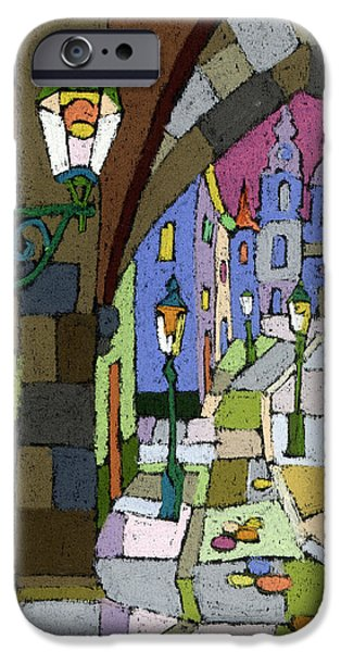 Old Pastels iPhone Cases - Prague Old Street Mostecka iPhone Case by Yuriy  Shevchuk