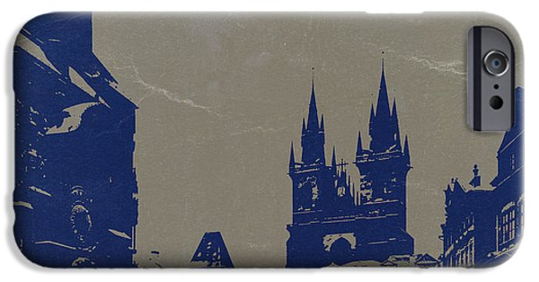 Old Town Digital iPhone Cases - Prague old town square iPhone Case by Naxart Studio
