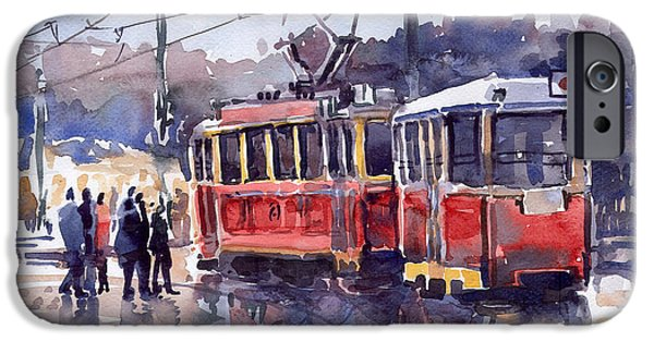 Streetscape Paintings iPhone Cases - Prague Old Tram 01 iPhone Case by Yuriy  Shevchuk