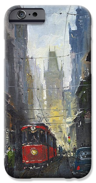 Oil On Canvas iPhone Cases - Prague Old Tram 05 iPhone Case by Yuriy  Shevchuk