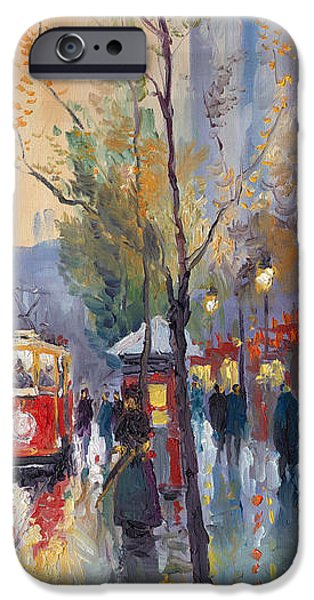 Streetscape Paintings iPhone Cases - Prague Old Tram Vaclavske Square iPhone Case by Yuriy  Shevchuk