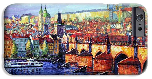 Charles Bridge iPhone Cases - Prague Panorama Charles Bridge 07 iPhone Case by Yuriy Shevchuk