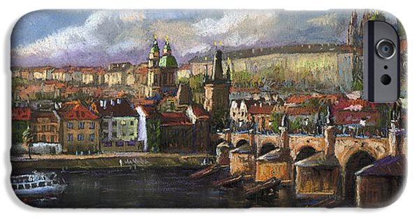Old Pastels iPhone Cases - Prague Panorama Charles Bridge Prague Castle iPhone Case by Yuriy  Shevchuk