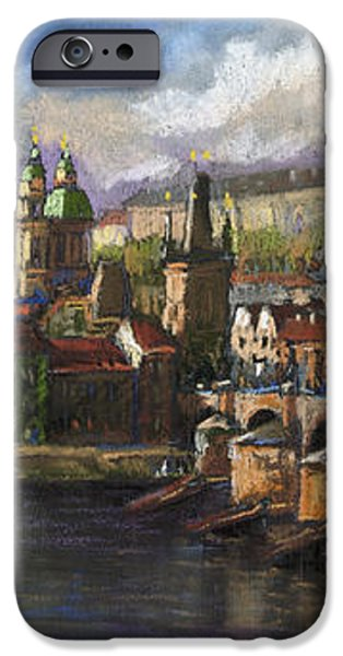 Prague Panorama Charles Bridge Prague Castle iPhone Case by Yuriy  Shevchuk
