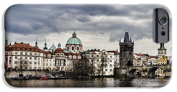 City Scape iPhone Cases - Prague Panorama iPhone Case by Heather Applegate