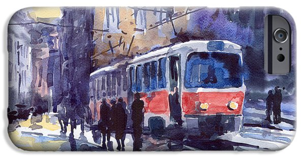 Streetscape Paintings iPhone Cases - Prague Tram 02 iPhone Case by Yuriy  Shevchuk