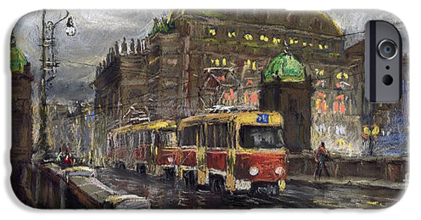 Tram iPhone Cases - Prague Tram Legii Bridge National Theatre iPhone Case by Yuriy  Shevchuk