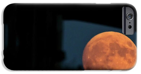 Old Barn iPhone Cases - Prairie Full Moon and Barn iPhone Case by Mark Duffy