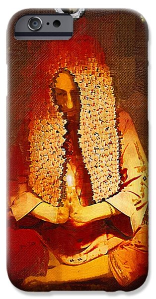 Contemplative Mixed Media iPhone Cases - Pray For The Earth iPhone Case by Pepita Selles