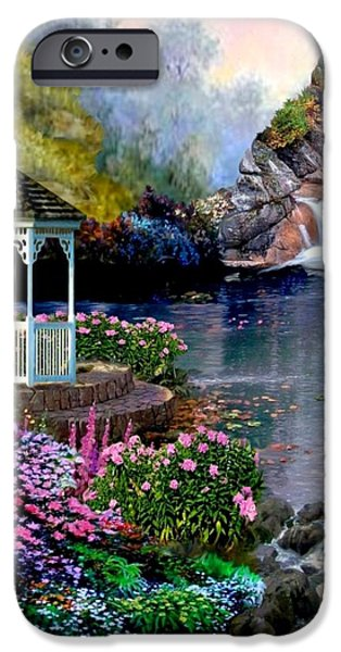 A Summer Evening Paintings iPhone Cases - Prayer Garden iPhone Case by Ronald Chambers