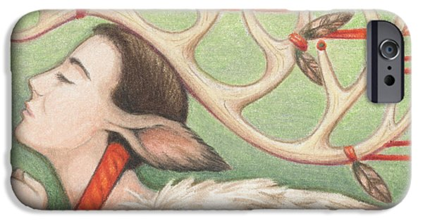 Aceo iPhone Cases - Prayer Of Elk Woman iPhone Case by Amy S Turner