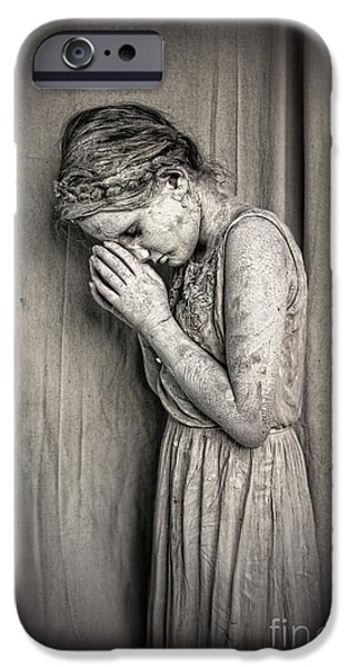 Statue Portrait iPhone Cases - Prayers for the Persecuted iPhone Case by Spokenin RED
