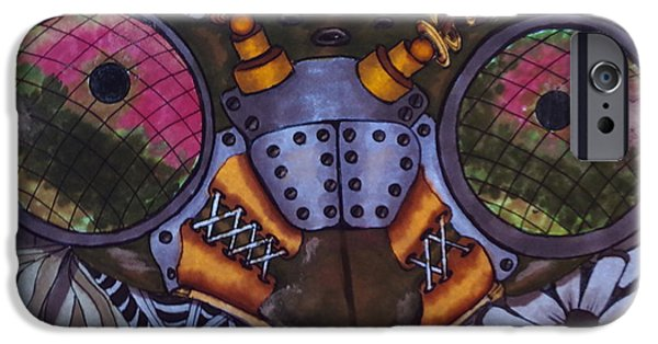 Nature Abstract iPhone Cases - Praying Mantis Robot iPhone Case by Linda McMillen