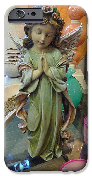 Seraphim Angel iPhone Cases - Praying Wings iPhone Case by Charlotte Gray