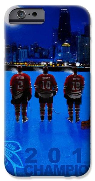 Hockey Paintings iPhone Cases - Pre-Dawn Skate iPhone Case by Gerard Garcia