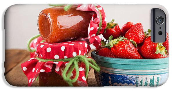 Diy iPhone Cases - Preserving jars with strawberry jam and fresh strawberries iPhone Case by Wolfgang Steiner
