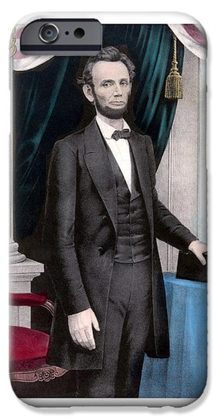 America Paintings iPhone Cases - President Abraham Lincoln In Color iPhone Case by War Is Hell Store