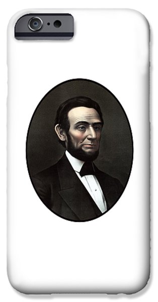 Proclamation iPhone Cases - President Abraham Lincoln  iPhone Case by War Is Hell Store