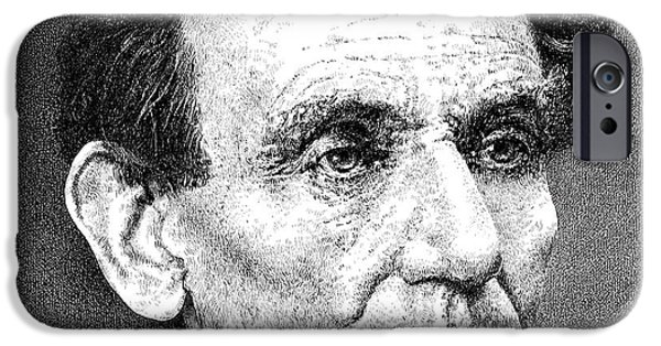 Log Cabin Drawings iPhone Cases - President Abraham Lincoln iPhone Case by William Beauchamp