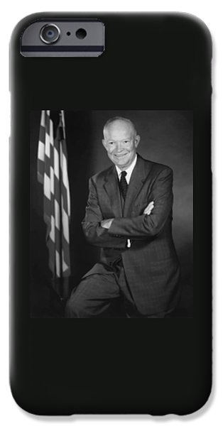 U.s Heroes iPhone Cases - President Eisenhower and The U.S. Flag iPhone Case by War Is Hell Store