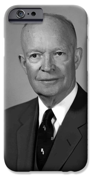 President iPhone Cases - President Eisenhower iPhone Case by War Is Hell Store