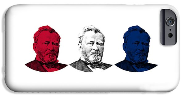 U.s Heroes iPhone Cases - President Grant Red White and Blue iPhone Case by War Is Hell Store