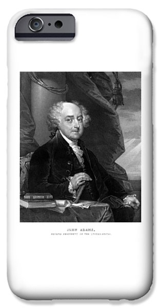 4th July Mixed Media iPhone Cases - President John Adams iPhone Case by War Is Hell Store