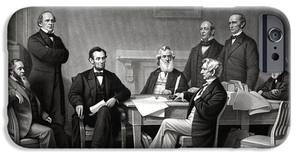 Lincoln iPhone Cases - President Lincoln and His Cabinet iPhone Case by War Is Hell Store