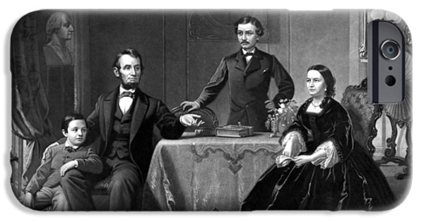 Abraham Lincoln iPhone Cases - President Lincoln And His Family  iPhone Case by War Is Hell Store