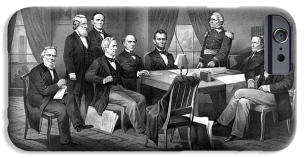 War Drawings iPhone Cases - President Lincoln His Cabinet and General Scott iPhone Case by War Is Hell Store