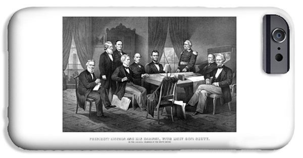 President iPhone Cases - President Lincoln His Cabinet and General Scott iPhone Case by War Is Hell Store
