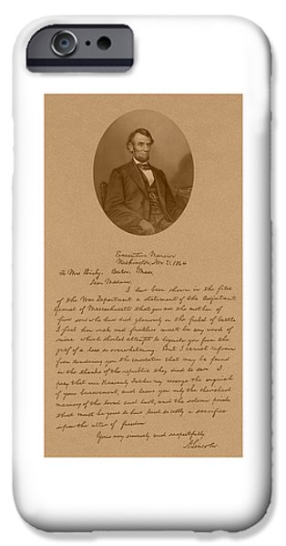 President iPhone Cases - President Lincolns Letter To Mrs. Bixby iPhone Case by War Is Hell Store